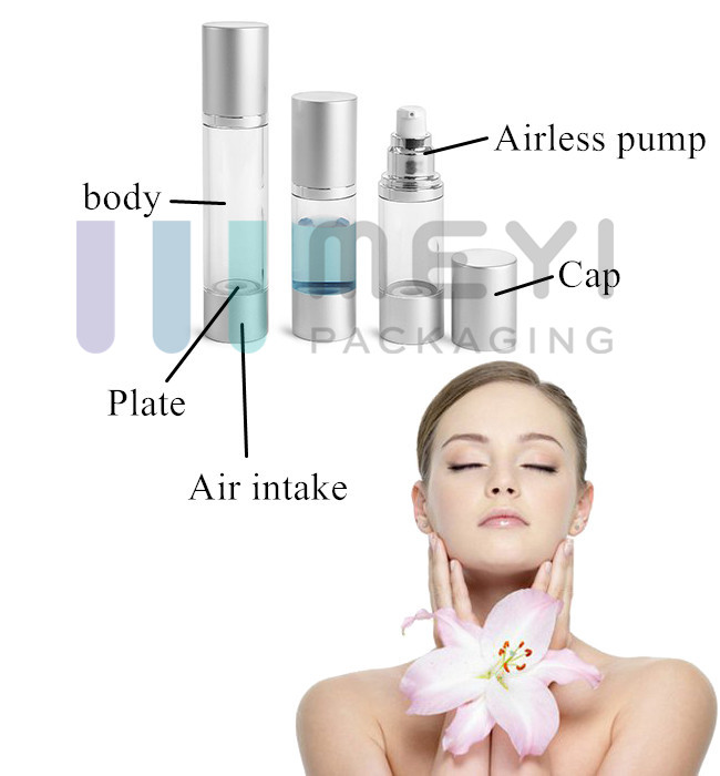 15ml 30ml 50ml AS Airless Pump Bottle With Golden Airless Pump Up - Down System