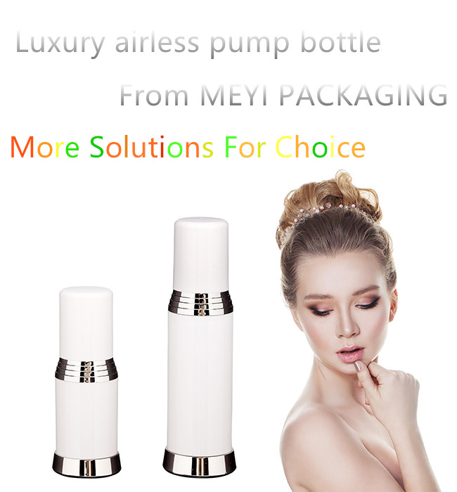 PP Cylinder Shape Airless Pump Bottle , 15ml 30ml 50ml Makeup Pump Bottle