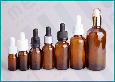China 5ml - 100ml Amber Dropper Bottles , Cosmetic Essential Oil Dropper Bottle  supplier
