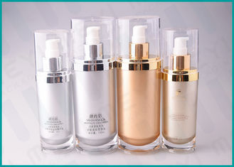 70 ML 130 ML Oval Shape Cosmetic Serum Bottle ,Silver / Gold Airless Cosmetic Bottles